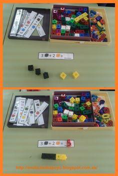 Destrezas manipulativas, conteo, discriminación de colores y, claro está, concepto de suma. Las láminas para elaborar las tarjetas ... Kindergarten Activities, Preschool Activities, Activities For Kids, Year 1 Maths, Material Didático, Math Workshop, Math For Kids, Addition And Subtraction, Reggio