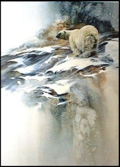 """""""Ice Bear"""" by Mort Solberg Watercolor Artwork, Watercolor Animals, Bear Paintings, Bear Art, Watercolor Techniques, Drawing Techniques, Wildlife Art, Art Drawings, Horse Drawings"""
