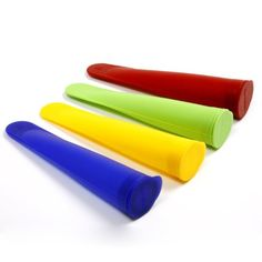 Silicone Reusable Ice-Pop Tubes! Make your own healthy ice-pops, one time purchase, and no trash! They work really well too.   Amazon.com: Norpro 431 4-Piece Silicone Ice Pop Maker Set: Kitchen & Dining