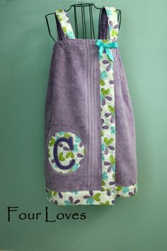 Adult and Child Spa Wrap...purple towel with purple and teal floral..fabric 9....by Four Loves