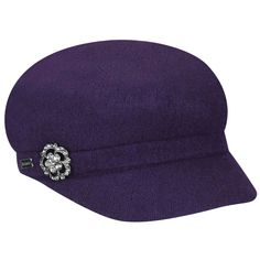 The cozy Crystal Cap is a wool blend cap with a brim. This fall and winter ladies cap is trimmed with a sparkling, rhinestones brooch and finished with a Betmar signature pin for exterior branding. The interior features an adjustable sweatband for best Felt Material, Crystal Fashion, Caps For Women, Fashion Caps, Wool Felt, Wool Blend, Branding Design, Baseball Hats, Brooch