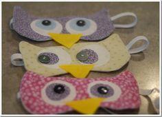 owl sleeping masks -- so cute for an owl-themed birthday party!