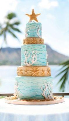 ocean themed wedding cakes Beach wedding cake idea: Five-tiered ocean-inspired cake with a . Beach Themed Cakes, Themed Wedding Cakes, Wedding Cake Photos, Wedding Cake Designs, Beach Wedding Cakes, Wedding Ideas, Seaside Wedding, Wedding Stuff, Destination Wedding