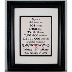 Fourth Anniversary Linen Print | 4th Anniversary Gifts For Couples, Him, Her
