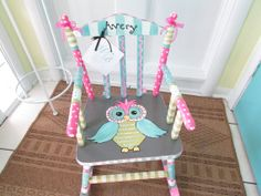 Hand Painted Child Rocking Chair Custom Painted Owl by MollieBurd,