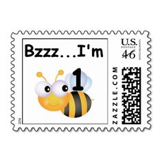 Buzz Bumblebee 1st Birthday T-shirts and Gifts Postage Stamps