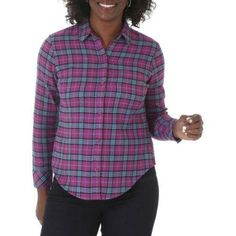 Riders by Lee Women's Long Sleeve Flannel, Size: Large, Multicolor
