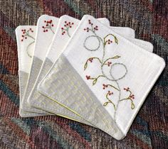 Fabric Coaster Hand Embroidery   via Etsy.