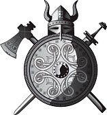 Vikingo. Hacha, casco, escudo y espada.