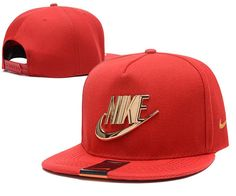 Mens Nike The Classic Nike Iron Gold Metal Logo A-Frame USA 2016 Best Quality Fashion Leisure Snapback Cap - Red
