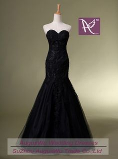 Mermaid Sweetheart Long Black Tulle Appliques Lace-Up Evening Wedding Dress