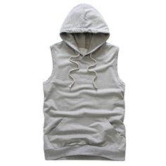Trendy Slimming Drawstring Hooded Front Pocket Sleeveless Tank Top For Men