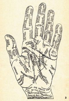 SPRING Manteia Print on Archival Paper: Illustration comes from a early guide to palmistry, phrenology and face-reading. Pictured: Metallic-Copper ink on cotton paper. Wiccan, Magick, Witchcraft, Le Bateleur, Palm Reading, Fortune Telling, Book Of Shadows, Numerology, Prints