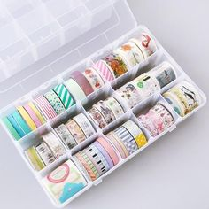 """This classic washi tape storage box has fully adjustable sections; No wonder it is popular among washi and stationery lovers! Capacity: 45 standard-size washi rolls Size of 15 grid box: x x (or x x Size of 18 grid box 3 layers grids): x x """" (or x x Stationary Organization, Stationary Supplies, Office Organization, Art Supplies, Stationary Gifts, Stationary Design, Washi Tape Crafts, Washi Tape Set, Diy Washi Tape Storage"""