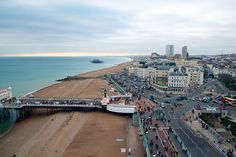 Aerial View from the Brighton Wheel of Brighton beach and Palace Pier