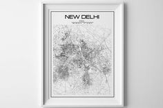 New delhi map City Map print Valentines Day Gift for Him