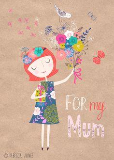 Rebecca Jones_ Mothers Day, fête des mères, oiseau, bouquet, fleurs, cadeau, gift, papillon