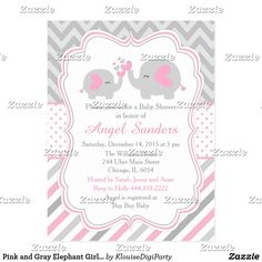 Pink and Gray Elephant Girl Baby Shower Postcard