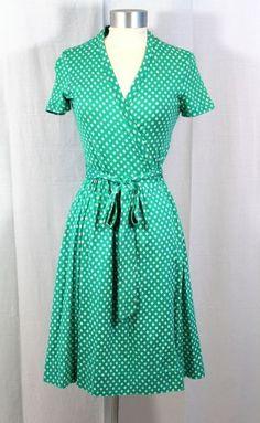 Vintage 70s Diane Von Furstenberg DVF Turquoise Green Wrap Dress XS