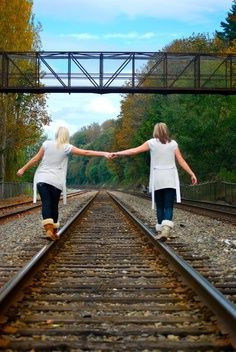 We could do this with three!! One walking in  the middle and we'll lean on her!! We always lean on each other anyway! <3