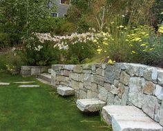 Raymond Quarry granite, recycled from San Francisco sidewalk curbs, creates a stunning retaining wall. Topher Delaney, T. Modern Landscaping, Backyard Landscaping, Terraced Backyard, Backyard Ideas, Back Gardens, Outdoor Gardens, Landscape Design, Garden Design, Sensory Garden