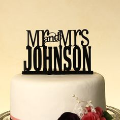 Wedding cake topper Mr. and Mrs. by DistinctlyInspired on Etsy, $24.95