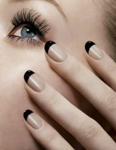 Black french tip nails - love