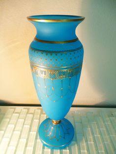 Vintage Blue Flash Glass Vase Frosted Art by VintageAndOddities, $145.00
