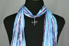 Dragonfly Ribbon Scarf Necklace by FiberArtAccents #DragonflyScarf #DragonflyNecklace #Jewelry Scarf #ScarfNecklace
