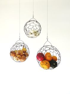 Handmade Hanging Wire Fruit or Vegetable Sphere by CharestStudios