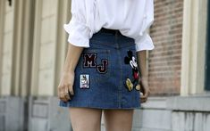 marcjacobs patched denim skirt gucci loafers jw anderson blouse streetstyle blogger