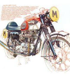 1966 Triumph T120R- Freehand Drawing by Peter Hutton :: Illustrator