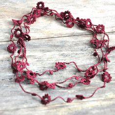 Delicate Crochet Flower Necklace in Maroon