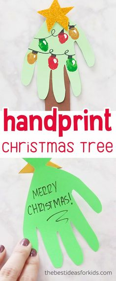 This Handprint Christmas Tree card is too cute! Kids can make fingerprint lights to make this fingerprint Christmas tree card. This is a great Christmas card idea and kids craft. #christmas #christmascard #kidscraft #christmascraft via @bestideaskids