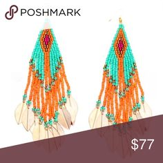coming...BEADED GOLD LEAF EARRINGS Beautiful indeed! What a great color combo.. orange, green, gold and red beads with gold leaf tips. These are sure to set any outfit off and get attention. -No trades. 51twenty Jewelry Earrings