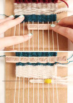 Tutorial of weaving on a cardboard loom for beginners DIY