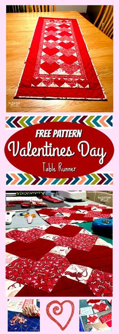 The house always seems so sad and dreary after the Christmas decorations come down. I like to have some Valentines Day decorations ready to help spruce up the decor. I stumbled upon a really great free pattern, by Jen Daly, and decided to give it a try!  Take a look at this lovely Valentines Day Table Runner!