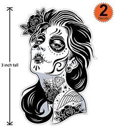 Amazon.com: 3 inch Mexican Sugar Skull Phone Sticker Version 1 - Día de los muertos - Day of the Dead Sticker Decal: Automotive