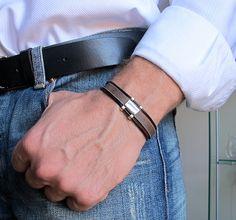 Men's Leather Bracelet. Adjustable Bracelet for Men