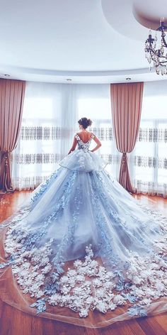 Beautiful Floral Wedding Dresses To Get Inspired! Beautiful Floral Wedding Dresses To Get Inspired! Luxurious Off the Shoulder Beading Wedding Dress Crystal Tiered Chapel Train Bridal Gowns Quince Dresses, Ball Dresses, Prom Dresses, Cinderella Dresses, Princess Dresses, Dresses For Balls, Cinderella Ballgown, Little Girl Pageant Dresses, Pretty Quinceanera Dresses