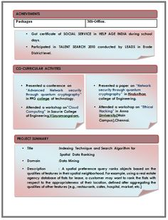 Excellent Resume Format (2)....see More At Www.cv
