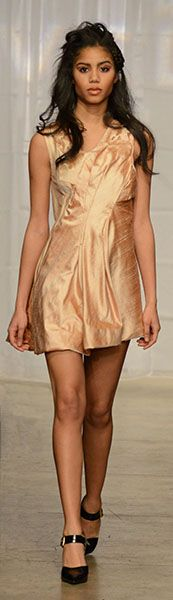 Mischka Velasco's Fall 2014 Pink Champagne Cocktail dress #MischkaVelasco #Fall2014 #CocktailDress #Silk #Runway #NYFW #Model #Fashion #Couture