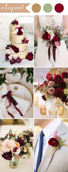 2017 elegant wedding ideas in color burgundy