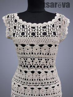 Crochet Kleid Catherine. Versandfertig. Häkelkleid Beige Tag