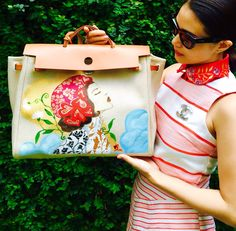 "Hand painted bag by artist love Marie aka heart evangelista on a #herbag #hermes ""lady love""❤️"