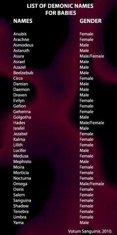 List of Demon Names Demonologyamanda   Choosing Demonic Names For A Newborn - Celebrate the Dark Wisdom ...