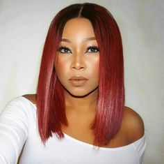 Synthetic Lace Front Wig Straight Bob Haircut Synthetic Hair Middle Part Bob / Natural Hairline Red Human Lace Front Wigs, Bob Lace Front Wigs, Weave Hairstyles, Straight Hairstyles, Black Hairstyles, Simple Hairstyles, Holiday Hairstyles, Modern Hairstyles, Party Hairstyles