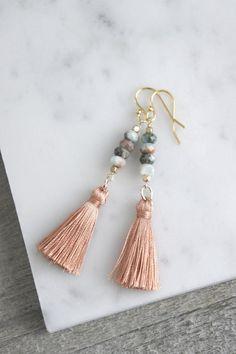 Tassel earrings gemstone earrings tassel jewelry multi color earrings long earrings assemblage jewelry by French Tassel Jewelry, Diy Jewelry, Jewelry Accessories, Handmade Jewelry, Fashion Jewelry, Jewelry Making, Diy Tassel Earrings, Diy Earrings Easy, Jewlery