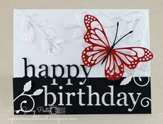 handmade birthday card ... Memory Box Dies ... black, white & red ... delightful new butterfly .. split words: happy birthday ... flourishes ...