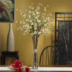 Nearly Natural 1193 Cherry Blossoms with Vase Silk Flower Arrangement